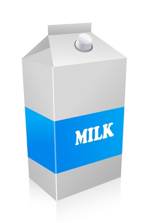 to consume: illustration of milk carton on white background Illustration