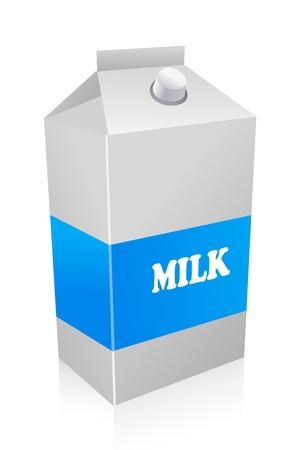 karton: Ilustracja z kartonu mleka na białym tle Ilustracja
