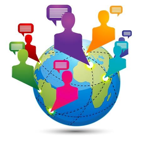 conectividad: Ilustraci�n de la conectividad global sobre fondo blanco