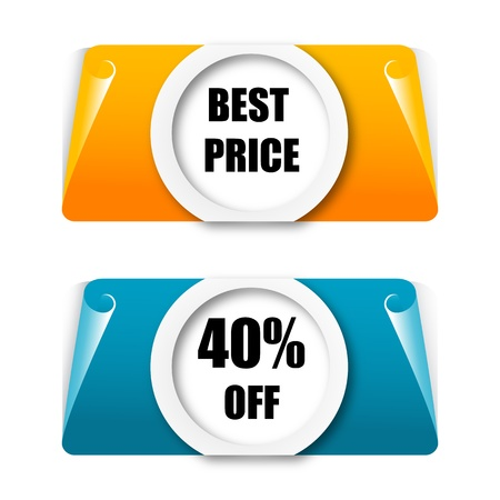 illustration of discount tags on white background Vector