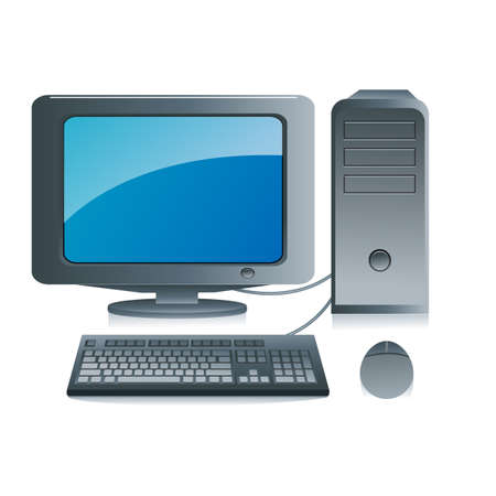 illustration of computer on white background Stock Vector - 8637337