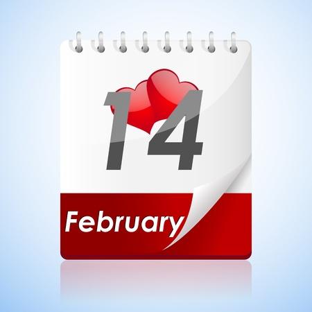truelove: illustration of valentine card  with calender on white background Illustration