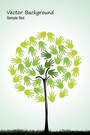 conciencia ambiental: Ilustraci�n de un �rbol natural con las manos sobre fondo blanco Vectores