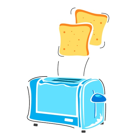 wheat toast: illustration of toster with slice on white background