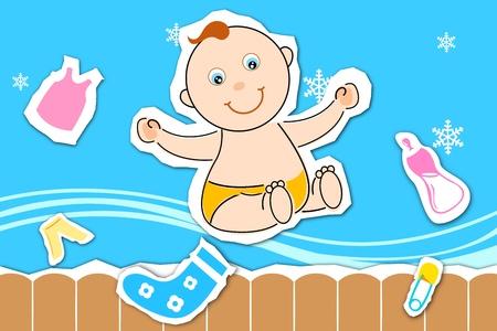 Ilustración de tarjeta del día de los niños con bebé sobre fondo blanco