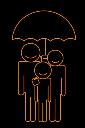 illustration of family under umbrella Vector