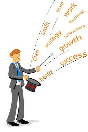 la union hace la fuerza: Ilustraci�n del hombre de negocios que muestra la m�gica sobre fondo blanco Vectores