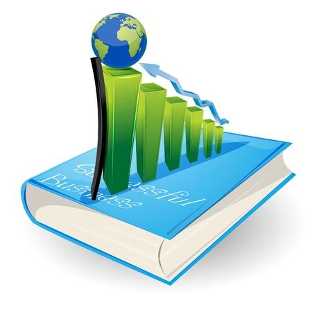 economies: Illustration de la carte de visite avec graphique globe et livre sur fond blanc Illustration
