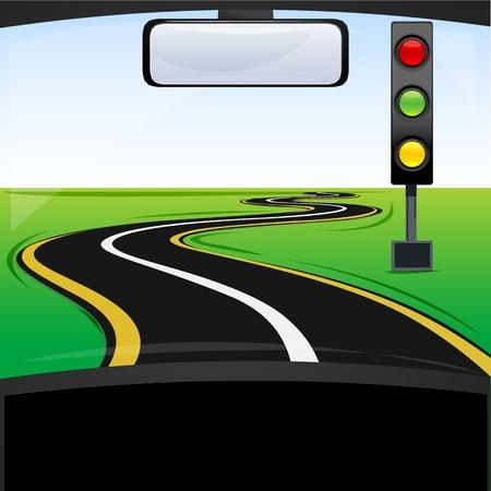 se�ales trafico: Ilustraci�n de las se�ales de tr�nsito en el camino Vectores