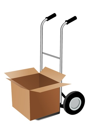 shipped: illustration of parcel with trolley on white background Illustration