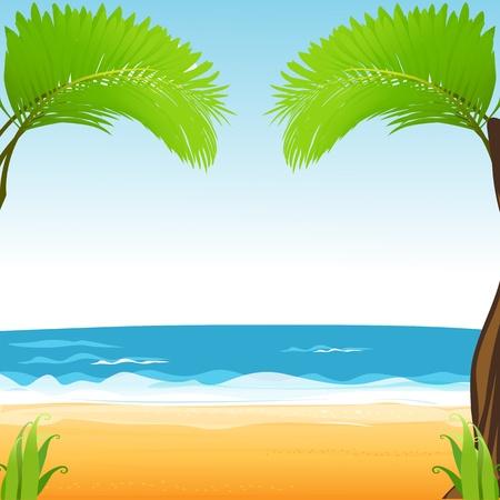 paesaggio mare: illustrazione di vista spiaggia Vettoriali