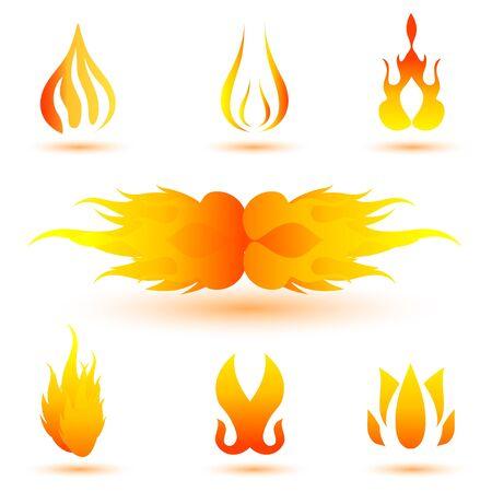 Illustration des formes de feu sur fond blanc Illustration