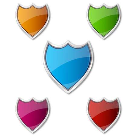 illustration of colorful shields on white background Stock Vector - 8637691