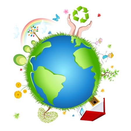illustration of recycle globe on white background