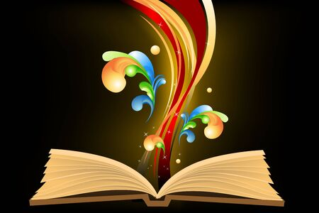 book cover template: illustration of open book with waves Illustration