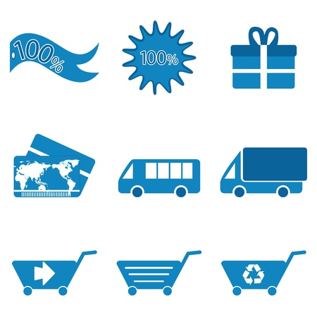 illustration of shopping icons on white background Vector