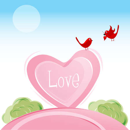 illustration of love birds in valentine card