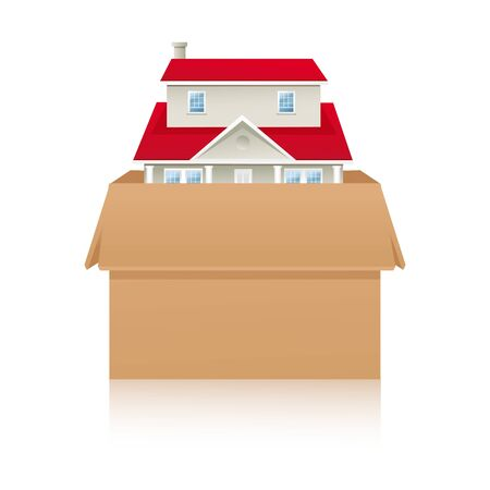 illustration of home inside box on white background Stock Vector - 8637367