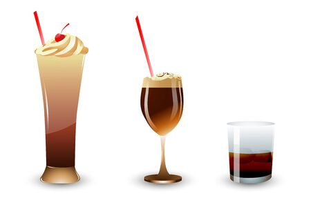 frozen food: illustration of ice cream and shake in glass on isolated background