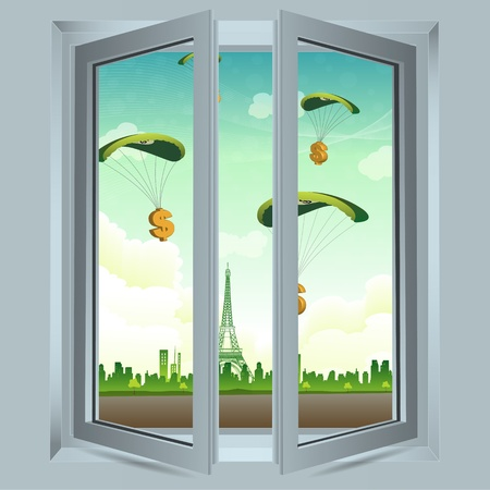 open windows: illustration of open window with dollar parachute