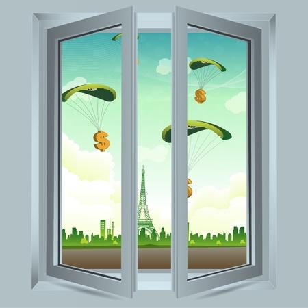 ventana abierta: Ilustraci�n de una ventana abierta con paraca�das de d�lar