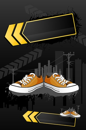 sport wear: illustration of shoes  with buildings on abstract background