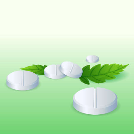 illustration of pills with leaf on abstract background Vector