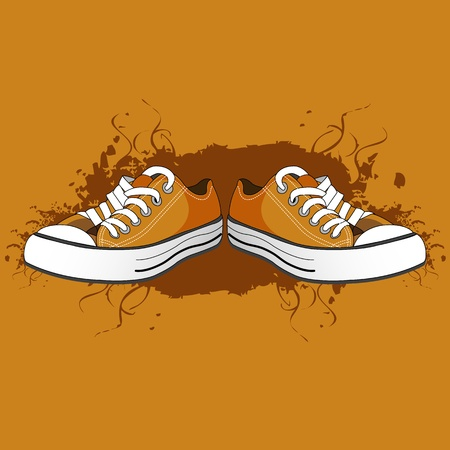 shoe shine: illustration of men shoes on abstract background