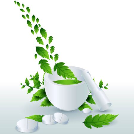 illustration of medicine with leaves on white background