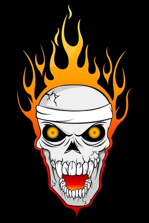illustration of burning skull on abstract background Vector