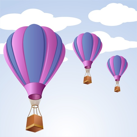 skydiving: illustration of parachute in sky on abstract background