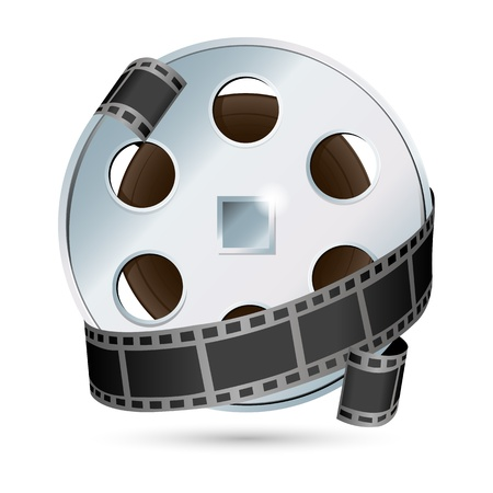 film industry: illustration of camera with  reel on white background