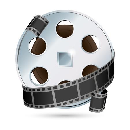 cinematografico: Ilustraci�n de c�mara con tambores sobre fondo blanco Vectores