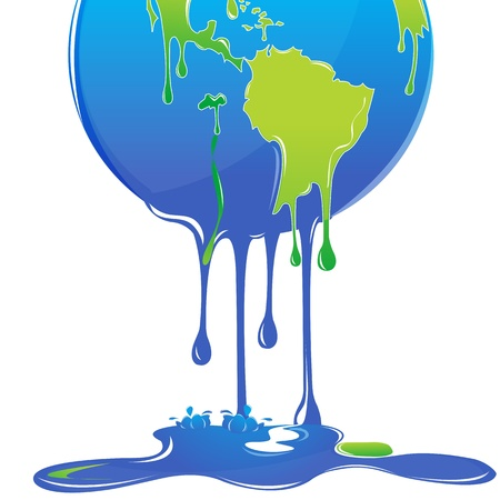 warming: illustration of global warming with globe on white background