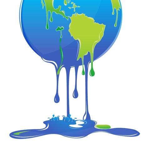 global problem: Ilustraci�n del calentamiento global con globo sobre fondo blanco