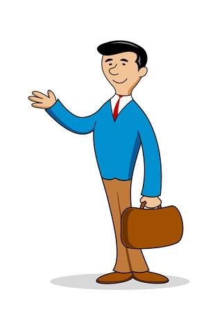 smart man: illustration of business man with bag on white background Illustration