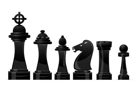 chess knight: Ilustraci�n de ajedrez sobre fondo blanco Vectores