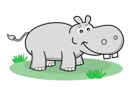 cartoon hippo: illustration of happy hippopotamus on white background Illustration