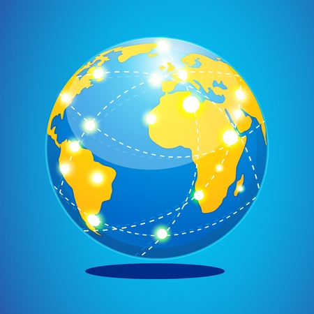 flightpath: illustration of world tour  with globe on abstract background