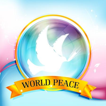 paix monde: Illustration de la paix dans le monde avec les oiseaux sur fond color� Illustration