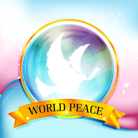 peace and love: illustration of world peace with bird on colorful background