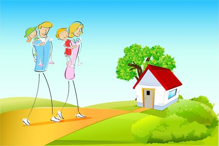 illustration of family on natural background Stock Vector - 9269545