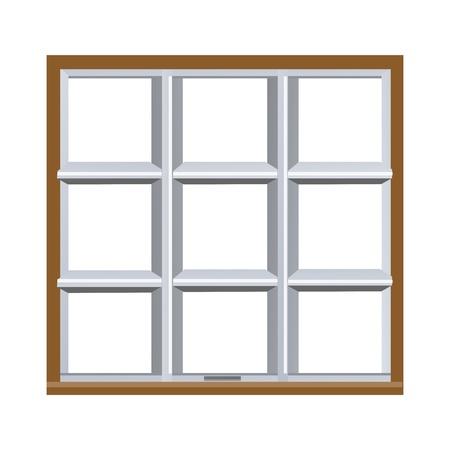 white window: Ilustraci�n de ventana sobre fondo blanco Vectores