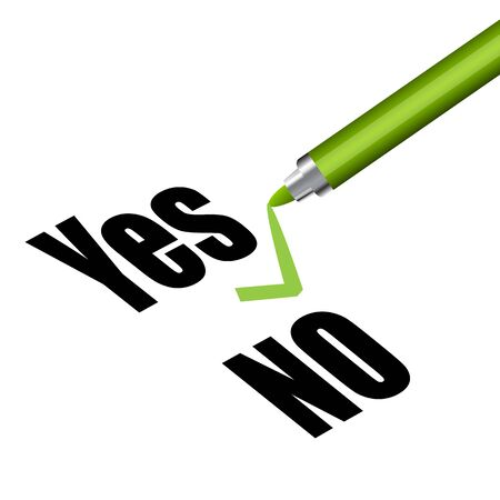 illustration of yes and no with pen on white background Stock Vector - 9269332