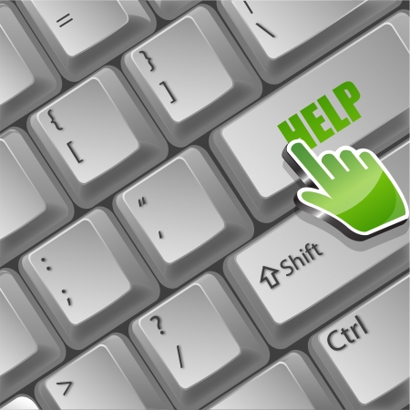illustration of help button on keyboard Stock Illustratie