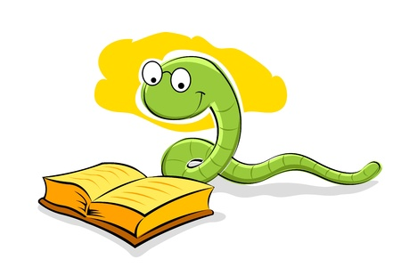 illustration of book with snake on white background Vector