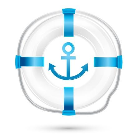 safe water: illustration of lifebuoy on white background Illustration