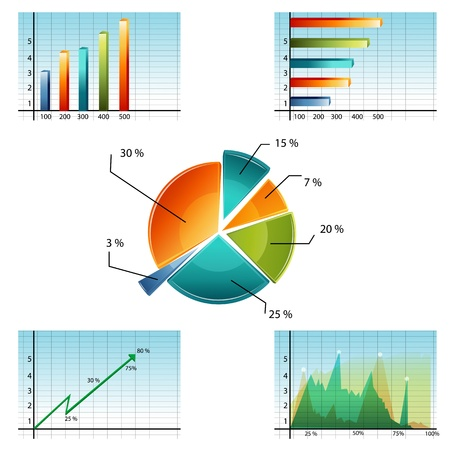 financial report: illustration of business graphs on white background Illustration