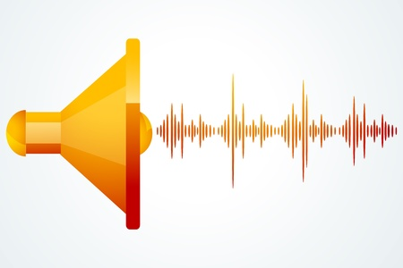 illustration of speaker with music waves on white background Ilustração