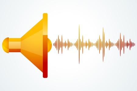 Ilustracja głośnik o mocy fale muzyki na białym tle